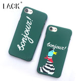 LACK Phone Case For iphone 5 5S 6 6S 7 Plus Lovers Letter Back Cover Funny Cartoon Stripes DucK Cases Slim Hard PC Couples Capa