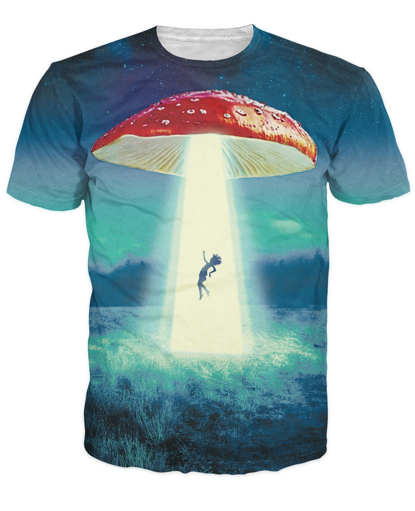 Going on a Trip T-Shirt detailed illustration of a mushroom abducting another victim 3d print t shirt women men tees tops