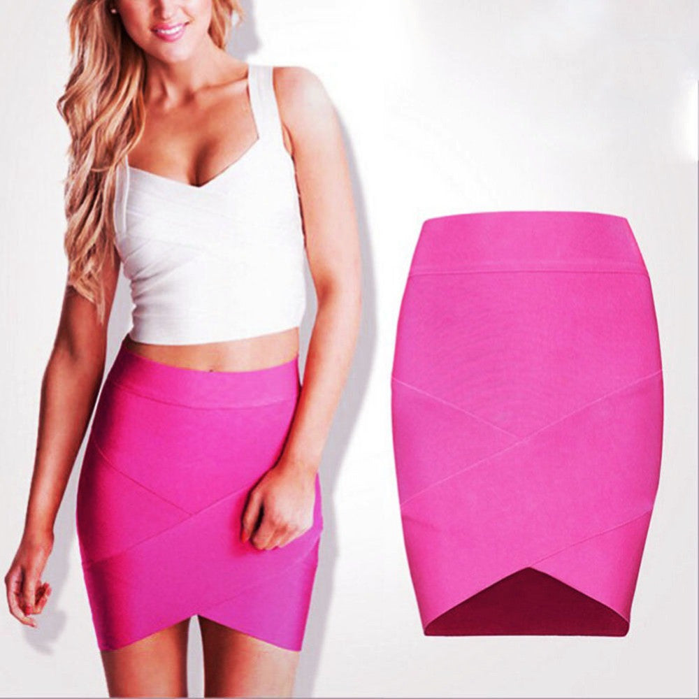 Summer 2016 Fashion Women Ladies High Waist Midi Slim Pencel Tube Stretch Cotton Blends Pencil Skirt Clothing