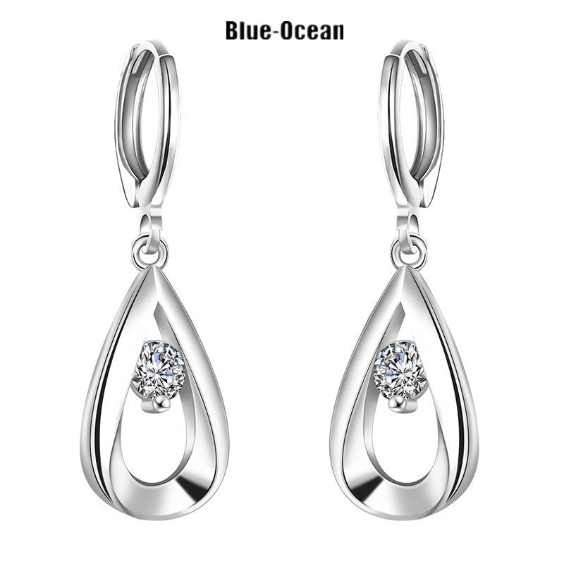 1 Pair New 925 Sterling Silver Ear Stud Earrings with aaa Zircon Wholesale 925 Sterling Silver Earrings Jewelry For Women E4 - Blobimports.com