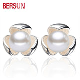 Bersun 2016 New Fashion 925 Sterling Silver Earrings Lucky Clover Imitation Pearl Stud Earrings Women Fine Jewelry Wholesale