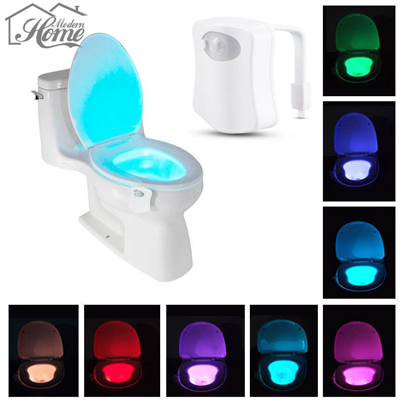 8-Color LED Motion Sensing Automatic Toilet Night Light Human Motion PIR Activated RGB Lamp Bathroom Seat Bowl Emergency Lamp