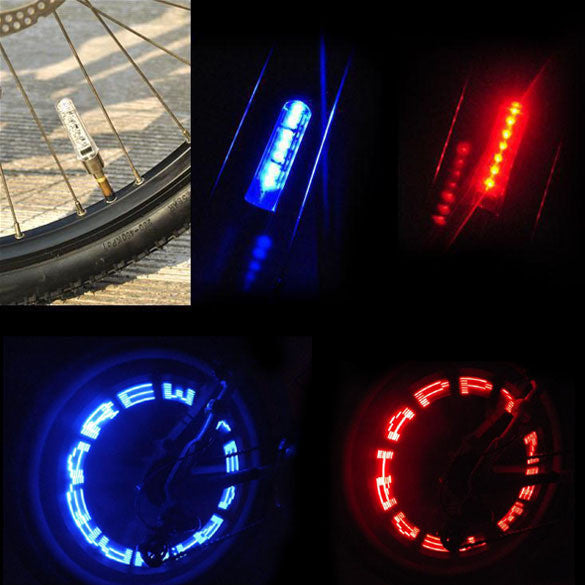 Bike Bicycle Wheel Valve Tire Tyre LED Letter Light Double Sense Outdoor Waterproof Bicycle Lights