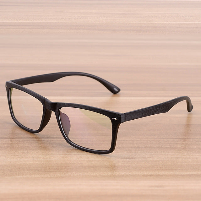 Square Eyeglasses Frames Clear Lens Optical Frame Wooden Imitation Prescription Glasses Frame Spectacle Eyewear Frames Women Men