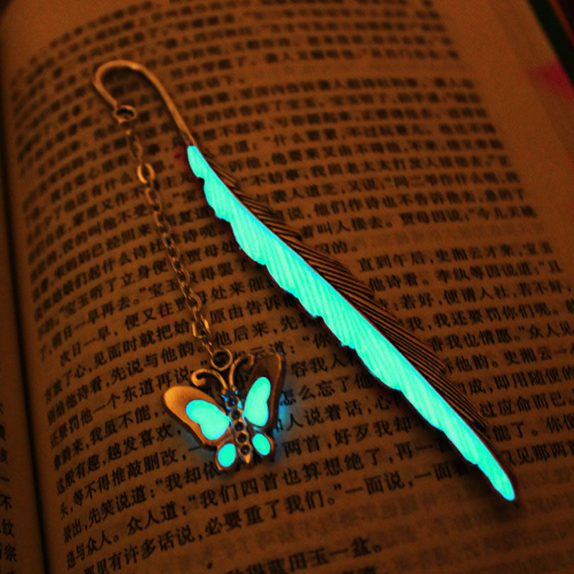 Butterfly leaves BOOKMARK GLOW in the DARK fashion classics leaves lead free alloy bookmark gift Single