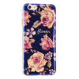 LACK Phone Case For iphone 7 6 6S PLus 5 5S Fashion Blue Ray Rose Flower Cases Glitter Powder Cover Peony Daisy Floral Girl Capa