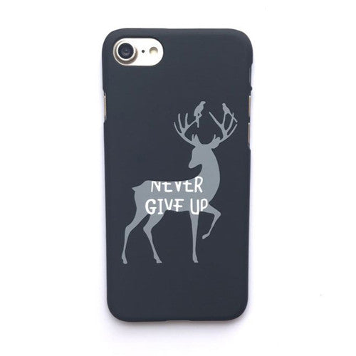 LACK Phone Case For iphone 6 6S 7 Plus 5 5S Cute Milu Deer Back Cover Cartoon Letter Cases Slim Frosted Hard Capa NEVER GIVE UP