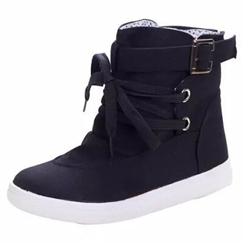 Women's Ankle Boots 2016 Spring Autumn Charming Flats With Buckle Lace-Up Design Cute Solid Fashion Canvas Martin Boots XWX1524
