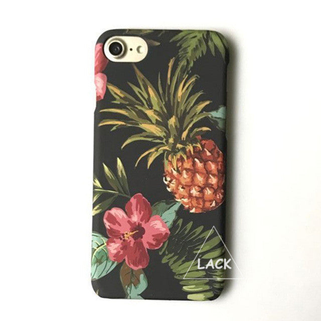 LACK Phone Case For iphone 6 6S 7 Plus Tropic Plants Flowers Leaf Cases Lovely Cartoon Fruit Pineapple Back Cover Colorful Funda