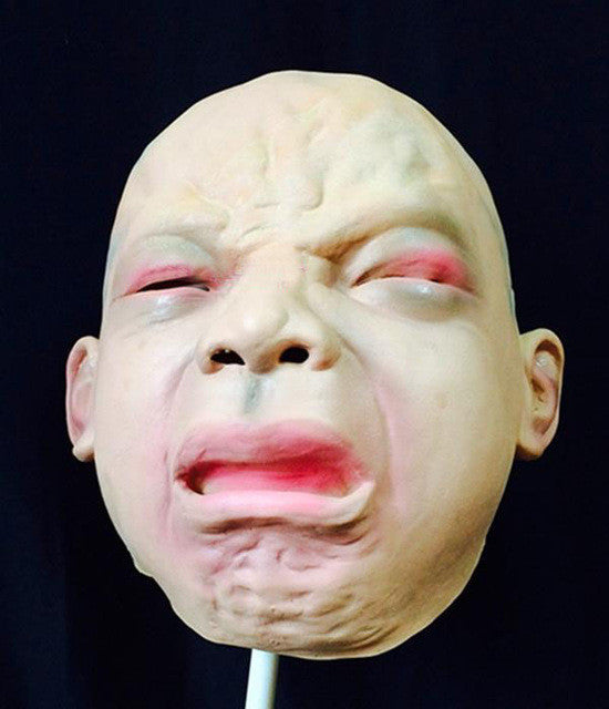Halloween Latex Disgusted Smile Happy Cry Baby Costume Mask Halloween Full Head Party Mask Silicone New Human Mask Free Shipping