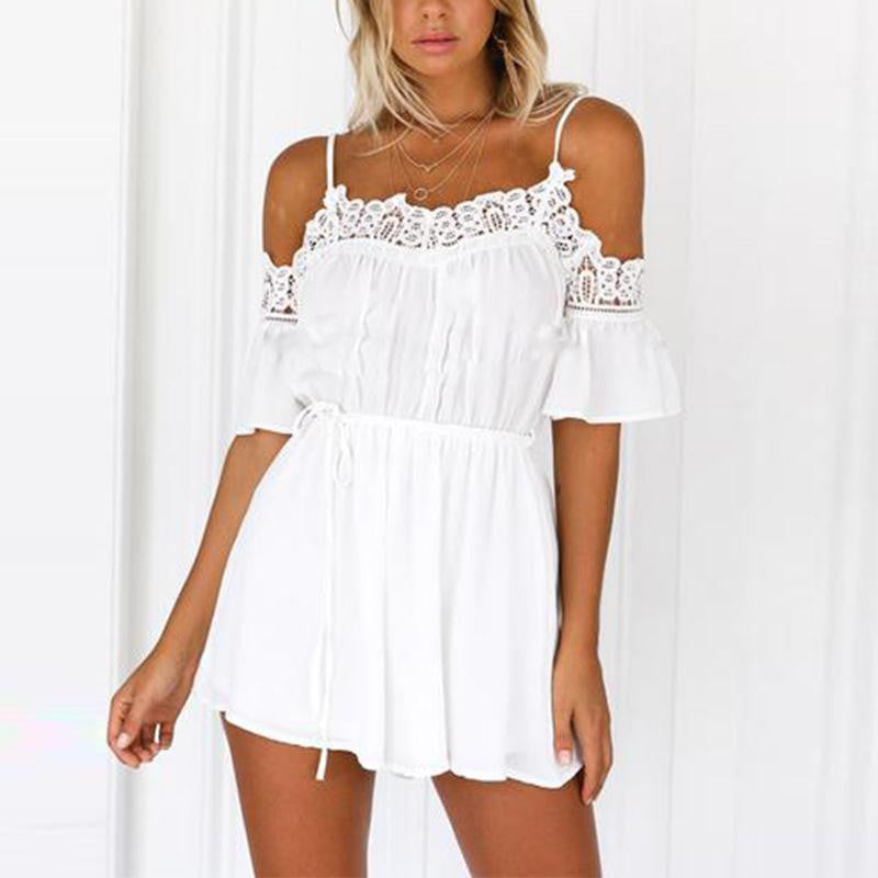 Playsuits Women Jumpsuit Overalls Bodysuit Lace Patchwork Off Shoulder Backless Spaghetti Strap Short Solid Femme Body Feminino