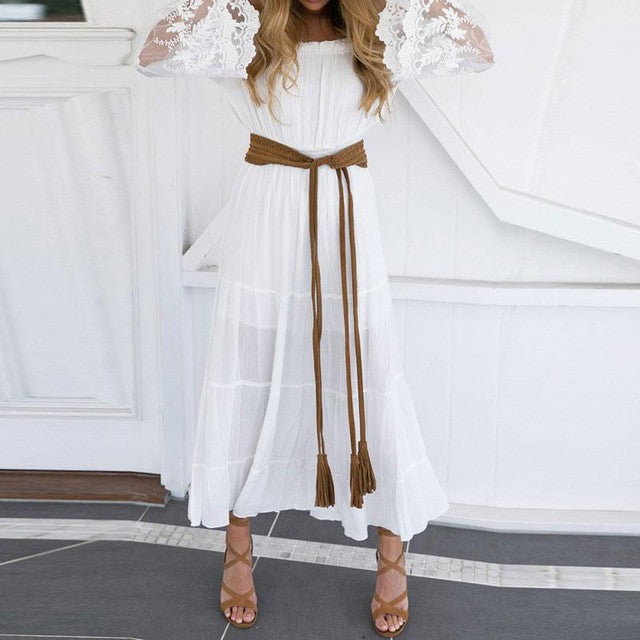 Women Slash Neck Dresses Ankle Length Empire White Lace Style Dress Patchwork Off The Shoulder Elegant Dress Flare Sleeve Style