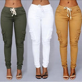 New Women Pants Fashion Stylish Solid Pockets Sportsing Mid Waist Casual Long Pants Leggings rousers White/Army Green/Dark/Khaki