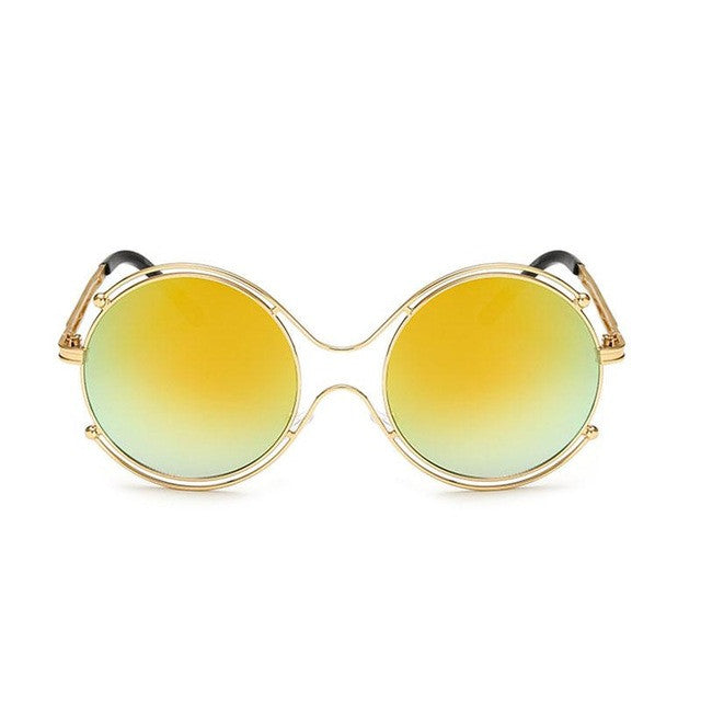 New Women Sunglasses Fashion Round Optics For Women High quality Women's Metal Frames Glsaaes Female Summer Beach Sunglasses