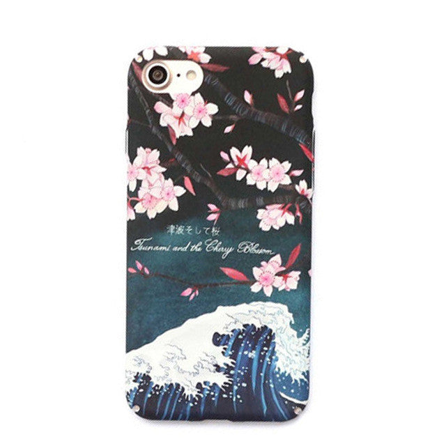 LACK Cute Cherry Floral Hard Case For iphone 7 Case Cartoon Flower Full Protect Frosted Cover Phone Cases For iphone7 6 6S PLus