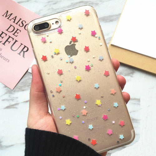 LACK Cute Colorful Star Shining Case For iphone 7 Case Soft Glitter Bling Cover Love Heart Phone Cases For iphone7 6 6S PLus NEW