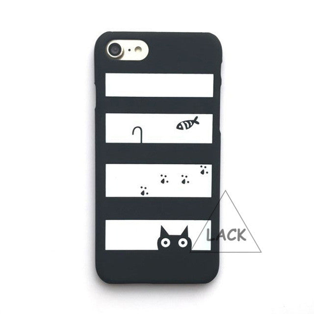 LACK Phone Case For iphone 6 6S 5 5S 7 Plus Classic Stripes Cases Lovely Cartoon Pocket Cat Fish Back Cover Fashion Hard PC Capa