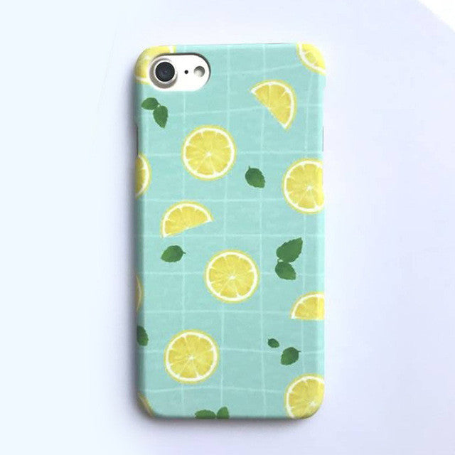 LACK Phone Case For iphone 7 6 6S PLus Capa Summer Cool Leaf Cases Fashion Cartoon Grid Back Cover Cute Fruit Lemon Hard Coque