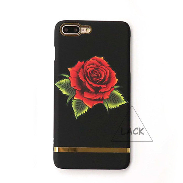 LACK Phone Case For iphone 7 6 6S Plus Rose Flowers Cases Luxury Hard Capa Fashion Gold Stripe Back Cover Red Rosas Leaf Fundas
