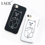 Phone Case For iphone 6 6S 7 Plus 5 5S Funny Middle Finger Cat Back Cover Hard PC Cases Grumpy Animal Pocket Cat Capa Coque