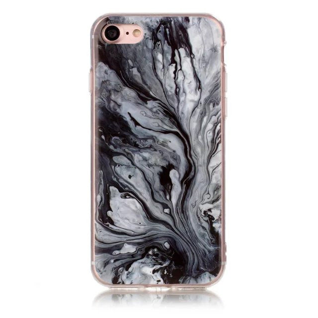 LACK Phone Case For iphone 6 6S 5 5S 7 Plus Fashion Marble Capa Luxury Soft IMD Cases Colorful Granite Stone Pattern Back Cover