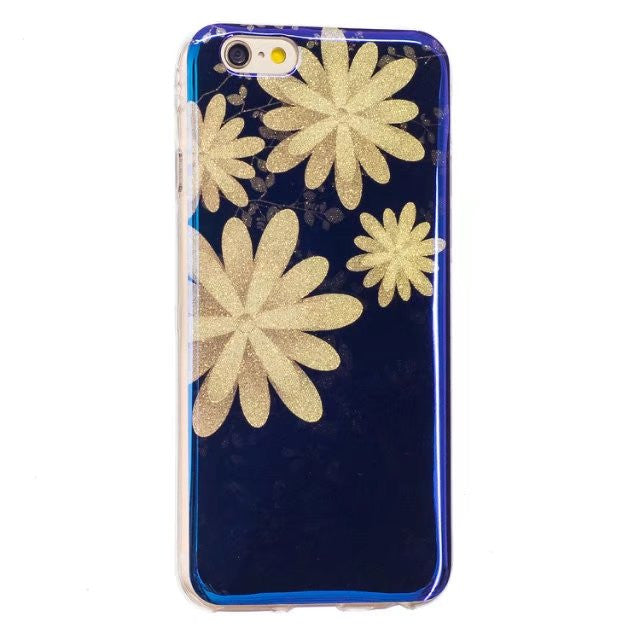 LACK Phone Case For iphone 6 6S 7 Plus 5 5S Bling Glitter Powder Cases Fashion Blue Ray Cartoon Flower Capa Cute Soft Back Cover