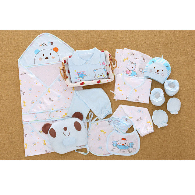 ff4f01e579573 100% cotton 17pcs/set New born underwear clothes sets with baby blanke