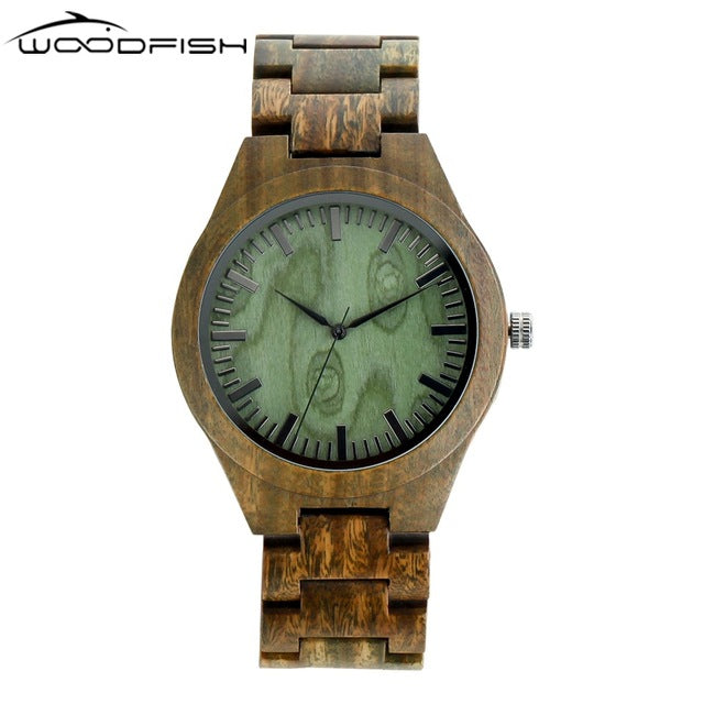 WOODFISH Fashion Wooden Watch Luxury Full Zebra Designer Watches for Men Retro Army Green Quartz Wristwatches With Gift Box