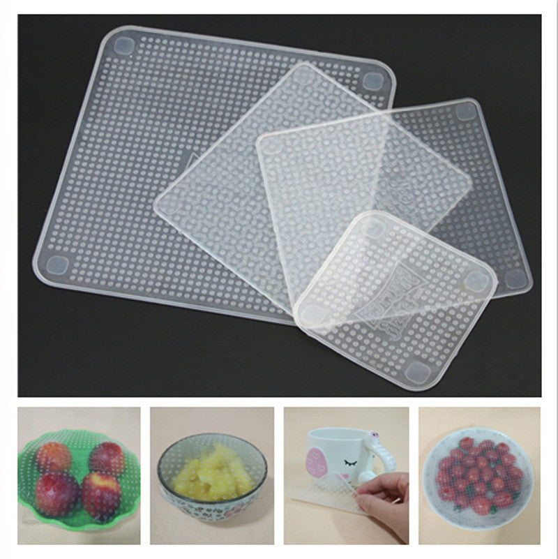 New 4pcs Multifunctional Food Fresh Keeping Saran Wrap Kitchen Tools Reusable Silicone Food Wraps Seal Cover Stretch