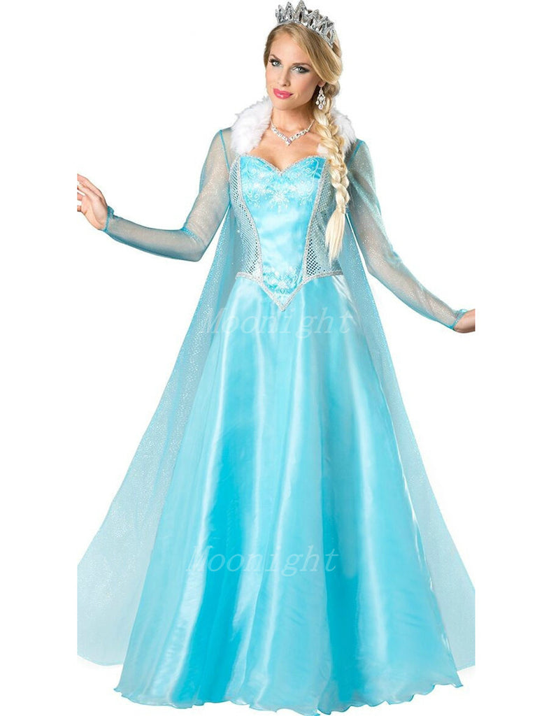 Princess Anna Elsa Queen Girls Cosplay Costume Party Formal Dress  Queen Dress Halloween Masquerade Costume Fairy