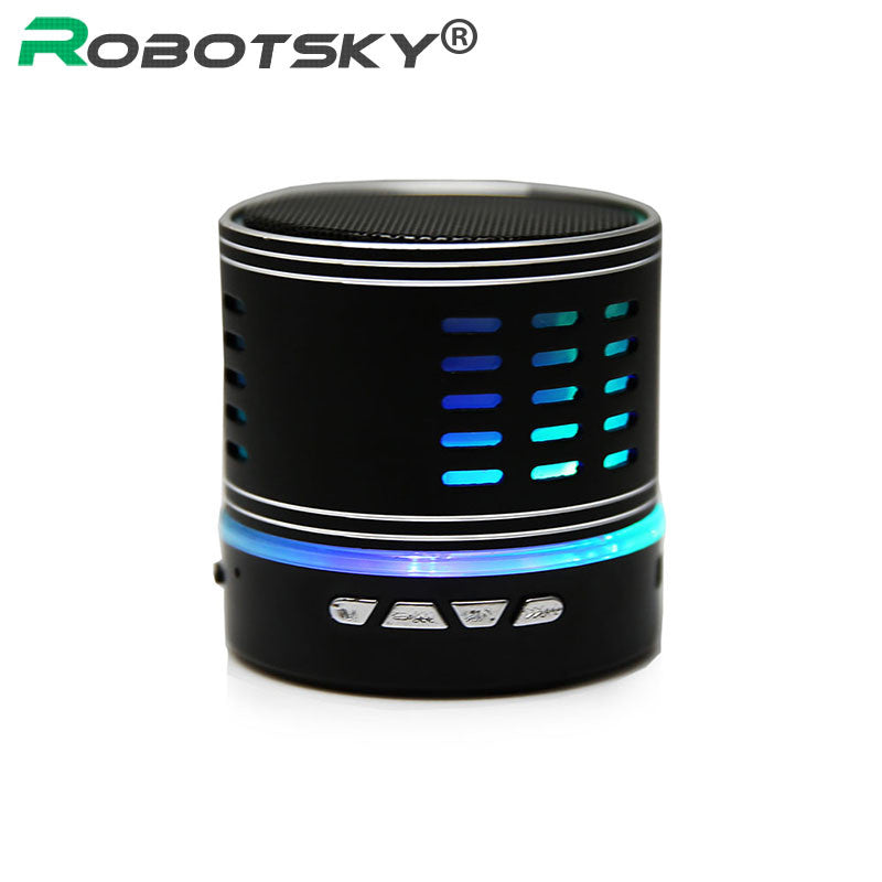 Luxury Wireless Metal Mini Bluetooth 2.0 Speaker with LED Light W/Handfree Mic+TF Card Stereo for Laptop/PC/MP3/ MP4 Player