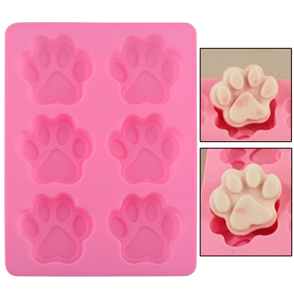 Lovely  Ice Cube Cake Soap Cookies Chocolate Kitchen Accessoriess Sweet Multifunction Dog Paw Silicone Mold molde de silicona