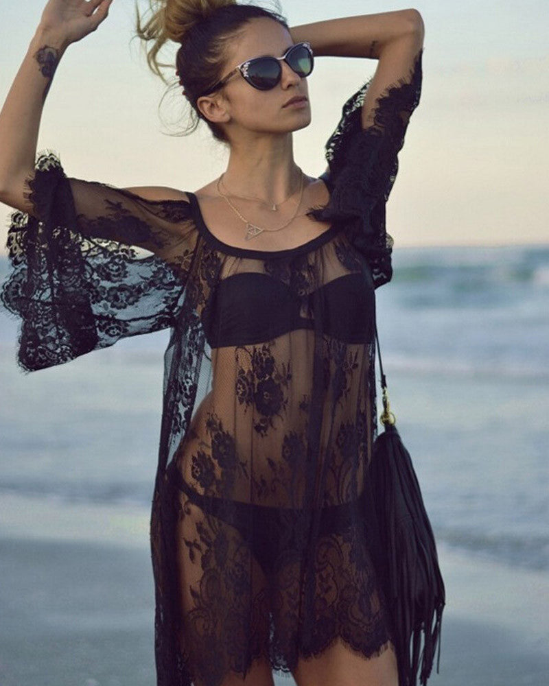 Ladies Sexy Lace Swimsuit Cover Up Dresses Robe Tunique De Plage See Through Shirts Bathing Suit Beach Dress Tunic Cover Ups