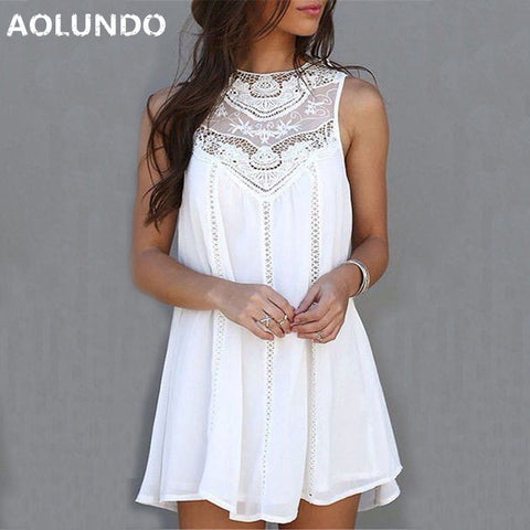 Womens Summer Dresses  White Lace Mini Party Dresses Sexy Club Casual Vintage Beach Sun Dress Plus Size