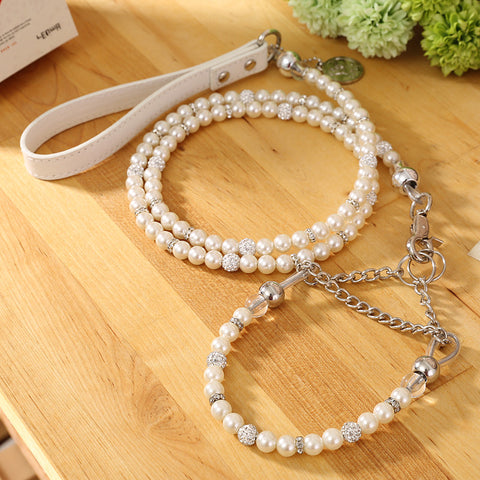 [MOCCAPET] New Silver Pearl Pet Collar Leash Set Dog Collar Dog Leash Pet Supplies Dog Collars For Small Dogs