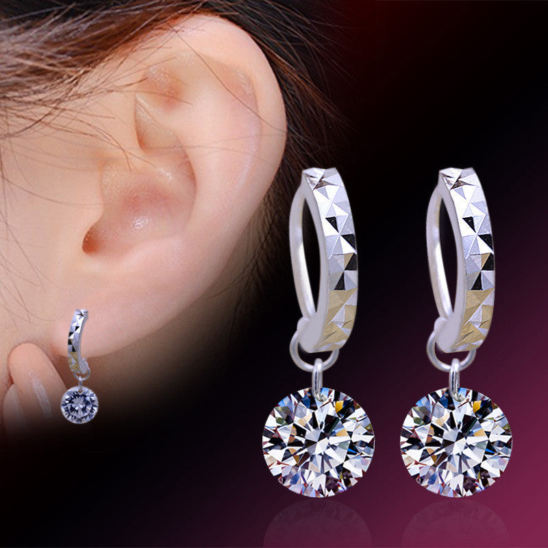 2016 New Women Silver 925 Sterling stud Earring Luxury Bling CZ Bare Rhinestone Female Ear Jewelry Wholesale