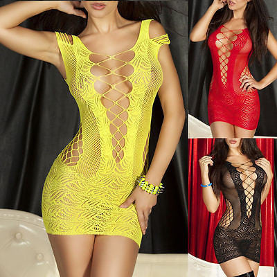 Sexy Women's Lingerie V-neck Babydoll Dress Underwear Sleepwear Chemise Dress