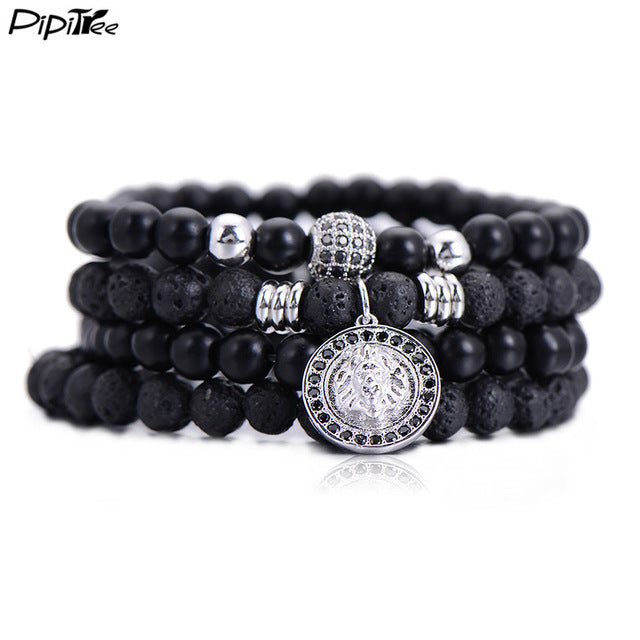 Pipitree 4pcs/set fashion men Bracelet sets with CZ ball lion head charms lava stone beads Bracelets & Bangles for men Jewelry