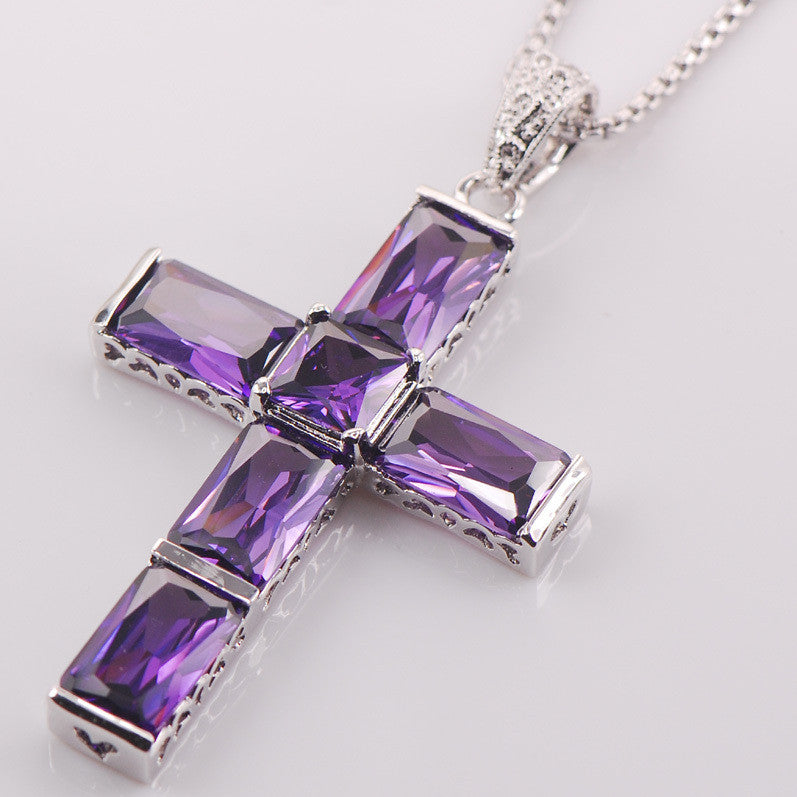 Party Cross Amethyst 925 Sterling Silver Fashion Jewelry Pendant TE425