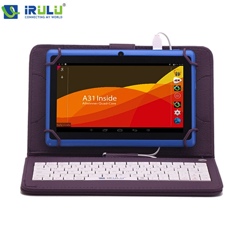 "iRULU eXpro X1 7"" Tablet Allwinner A33 Android 4.4 Quad Core 8GB ROM 1024*600 HD Tablet PC with Purple Keyboard WIFI Tablet"