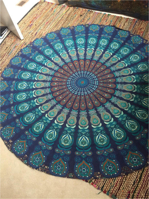 2016 New Fashion Summer Beach Towel Women Cape Towel Large Round 150 Cm Bohemia Ethnic Print Floor Mat Outdoor Portable Blanket
