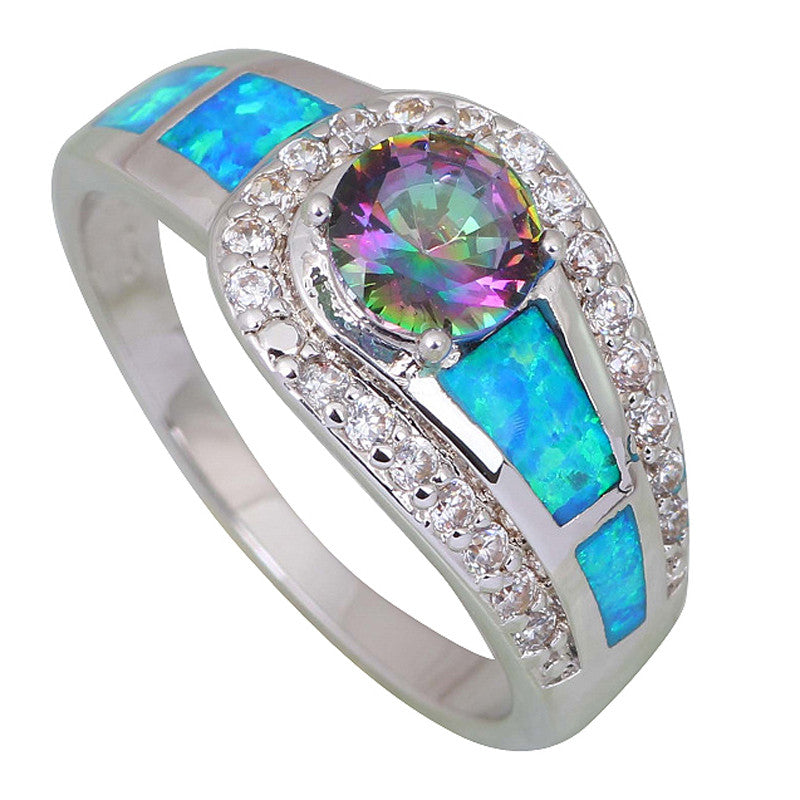 Best Fashion women' ring Pink Rainbow Mystic Topaz Opal 925 Sterling Silver Overlay jewelry ring size 5 6 6.5 7 7.5 8  9 R409