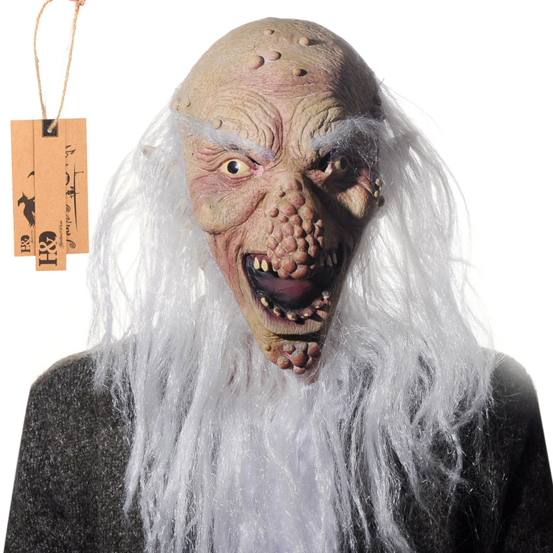 Full Face Cosplay Scary Long Beard and Bald Old Man Ghost Latex Mask Horror Masquerade Adult Ghost Movie Mask Halloween Props
