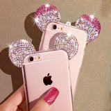 HIgh Quality 3D Mickey Mouse Ear Case For iPhone 6 6S 6Plus/6s Plus Rhinestone Ears Soft Transparent TPU Protect Phone Covers