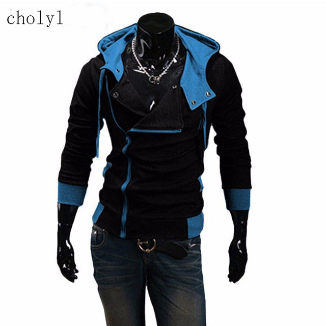 2017 cholyl Side Zipper Patchwork Hoodies Men Casual assasins creed Clothing mens hoodies and sweatshirts sudadera hombre