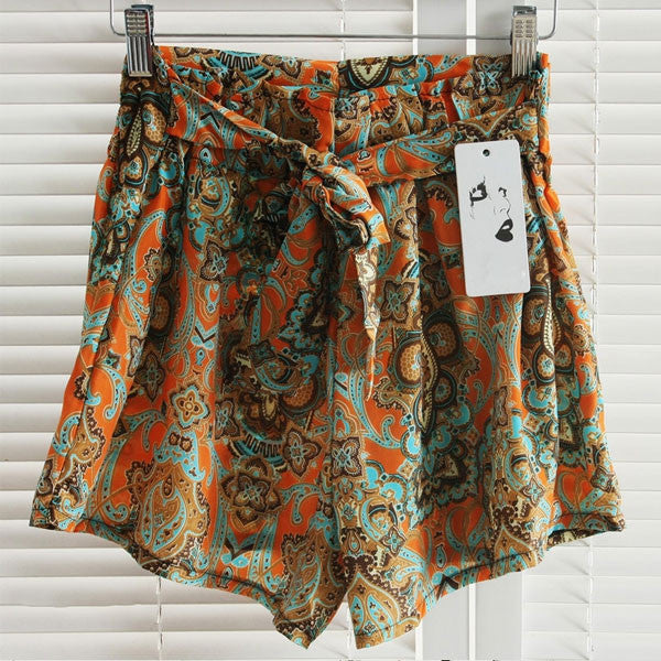 2016 New Brand Hot Women's lady Retro Elastic Shorts Chiffon Floral Printed High Waist Loose Skirts Shorts