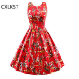 CXLKST Women Summer Elegant Vintage 60's Sleeveless Backless Western Girl Printed Casual Rockabilly Party Evening Swing Dress
