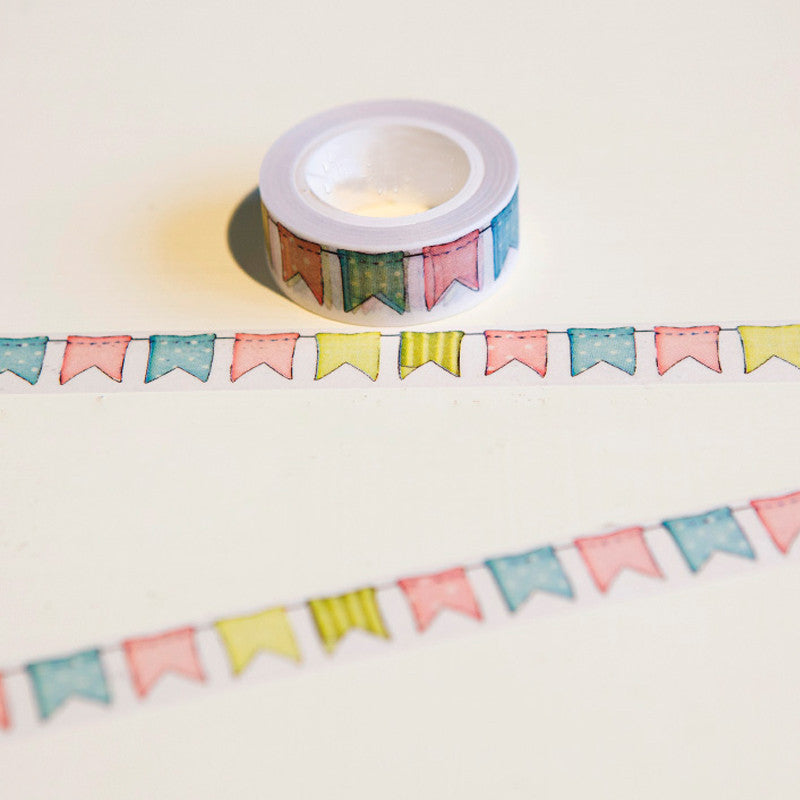 1 x  Colour Flag washi tape DIY decoration scrapbooking planner masking tape adhesive tape kawaii stationery - Blobimports.com