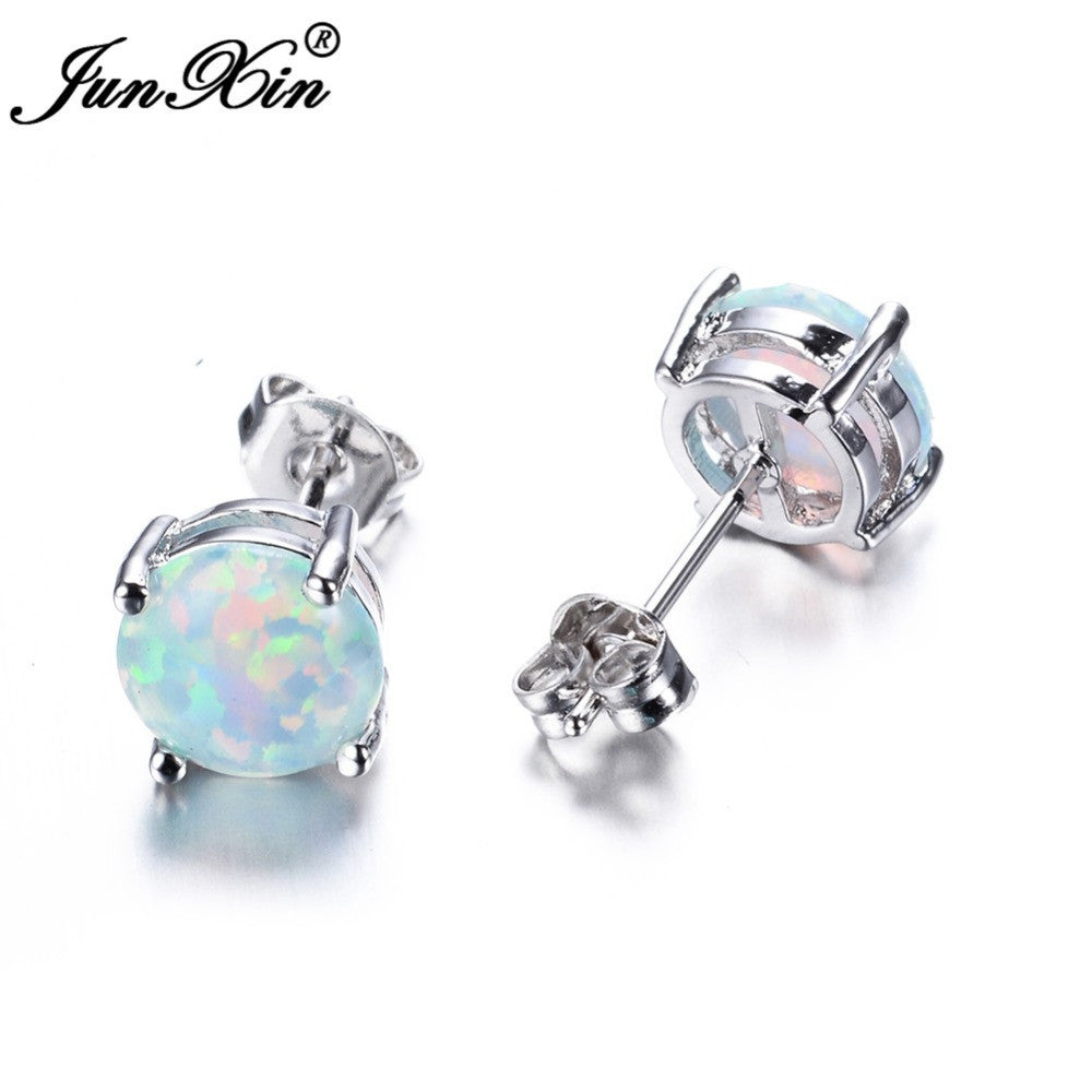 JUNXIN Bohemia Fire Opal Earrings For Women Ladies White Blue Ruby Amethyst Round 925 Sterling Silver Filled Earrings Stud
