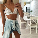 Summer Style 2016 Women Sexy Bra Set Floral Sheer Lace Underwear Spaghetti Strap Bra Crop Top Lingerie Brief Sex Intimates u2